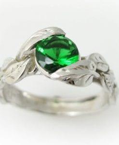 Lab Emerald Engagement Ring, Leaf Engagement Ring