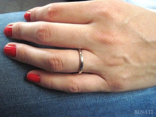 18k White Gold Stacking Wedding Band, Gold Classic Wedding Ring