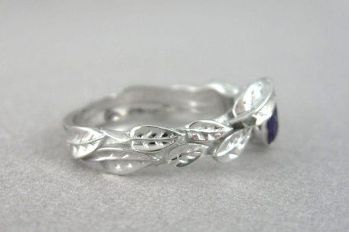 Amethyst Engagement Leaf Ring, Leaf Engagement Ring