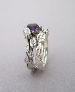 Amethyst Leaf Ring Wedding Set, Leaf Ring Amethyst Engagement Set