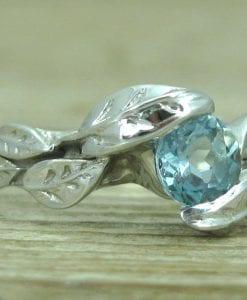 Aquamarine Engagement Ring, Leaves Aquamarine Engagement Ring