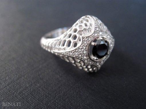 Black Diamond Engagement Ring - 0.50 Carat Black Natural Diamond - Alternative Engagement ring - Dark Forest Ring - Moon Ring - Cobra Ring