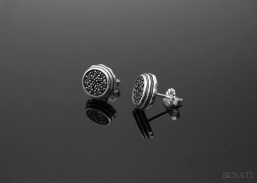 Black stones organic stud earrings - SALE - hot - fancy - holiday - for him - for her - unisex - gift under 60