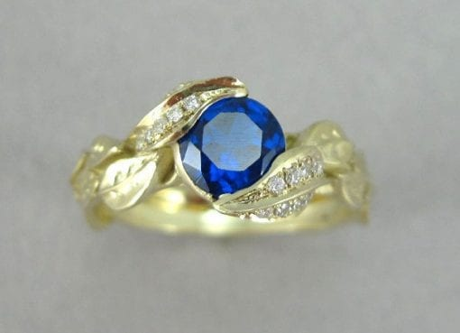 Blue Sapphire Engagement Ring, Sapphire Engagement Leaf Ring