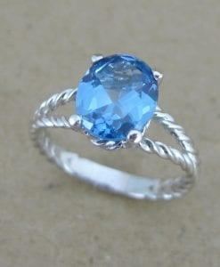 Blue topaz engagement ring, Blue topaz rope ring