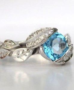 Blue Topaz Leaf Engagement Ring, Diamond Leaf Engagement Ring