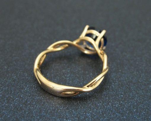 Bold 2 Carat Blue Sapphire Infinity Engagement Ring - Blue Gemstone, 14k Rose gold Braided Rope Engagement Ring