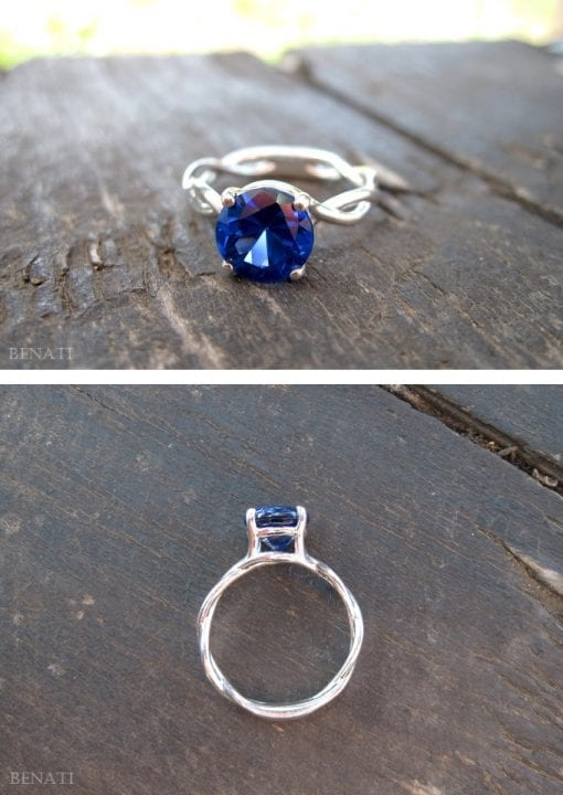 Bold 2 Carat Blue Sapphire Infinity Engagement Ring - Blue Gemstone, 14k White Gold Braided Rope Engagement Ring