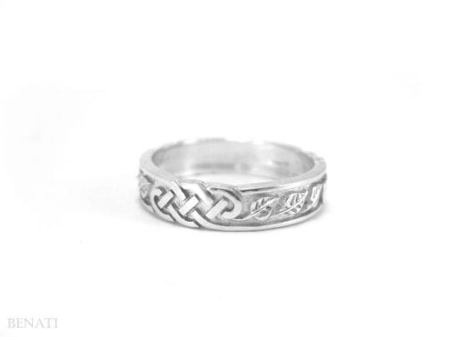 Celtic Wedding Band With Leafs - Infinity With Leafs Wedding Ring In 14k White Gold, Infinity Wedding Band