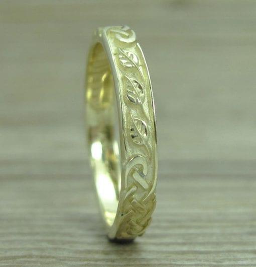 Celtic Wedding Band With Leafs, Wedding Ring