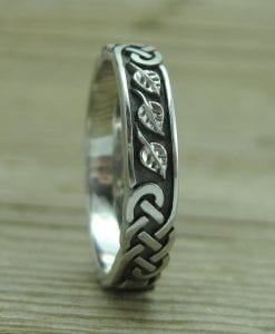 Celtic Wedding Band With Leafs, Wedding Ring In 14k White Gold