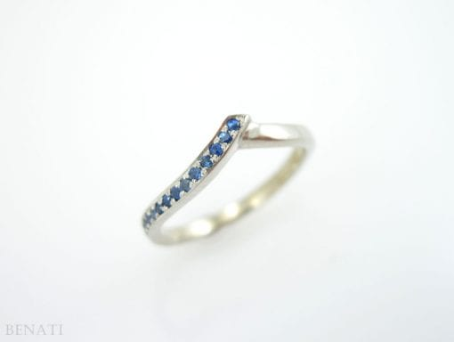 Chevron Ring, V Shaped Sapphire Infinity Ring