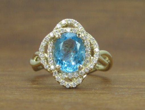 Cocktail Blue Topaz Engagement Ring, Flower rope Engagement Ring