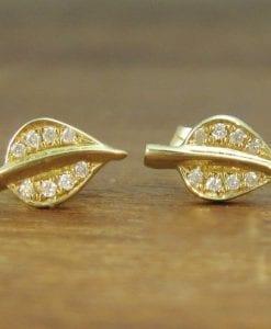 Dainty Gold Stud Leaves Earrings, Diamond stud Leaves earrings