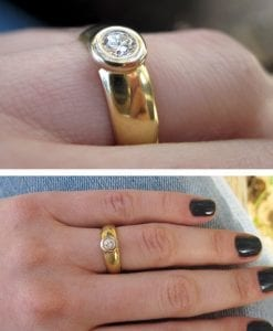 Diamond Engagement Ring, 18k Yellow Gold Wide Band Engagement Ring