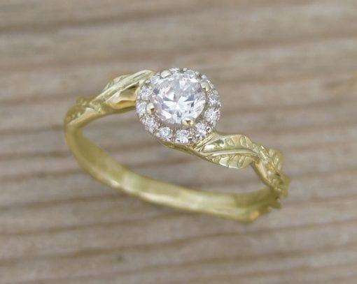 Diamond Halo Leaves Engagement Ring, Gold Halo Engagement Ring