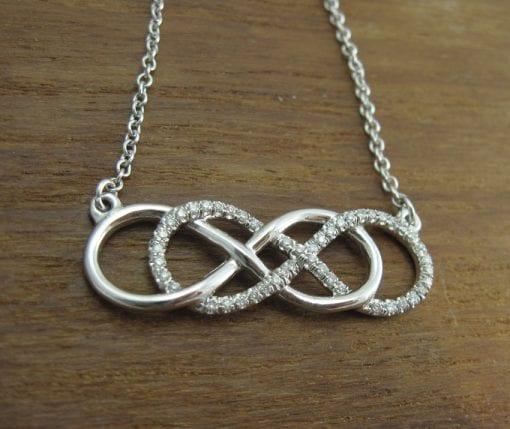 Diamond infinity necklace, White gold double infinity knot diamond necklace