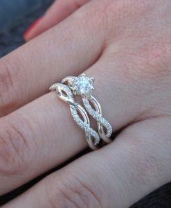 Diamond infinity ring bridal set, Infinity knot engagement and wedding ring set