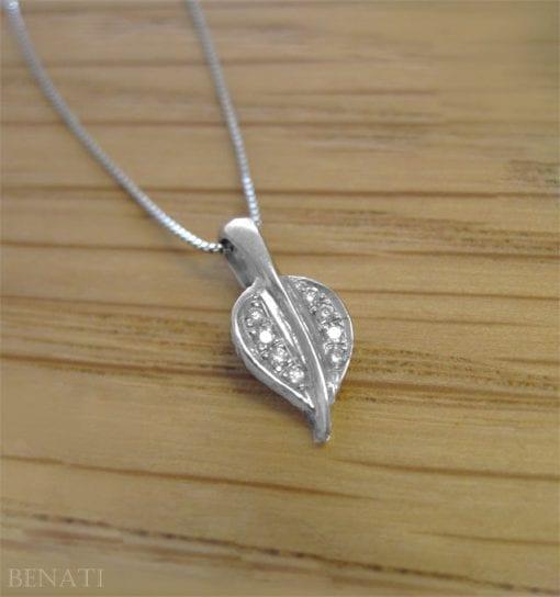 Diamond Leaf Pendant, Gold Leaf Necklace With Diamonds