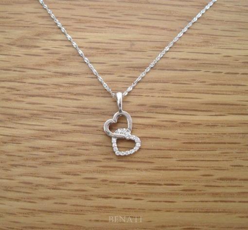 Diamond necklace, White gold heart pendant