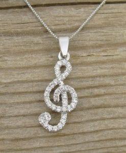 Diamond Pendant, Treble Clef Diamond  Pendant