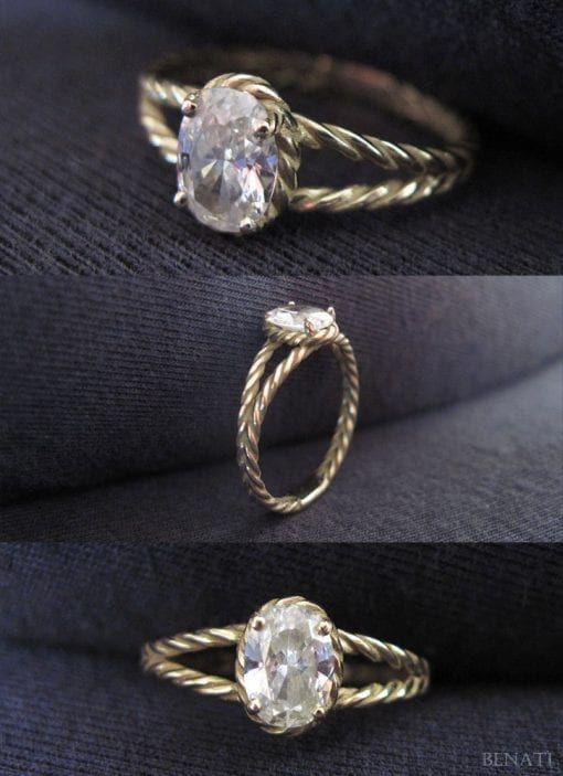 Diamond Twisted Rope Engagement ring, Oval Diamond Engagement ring