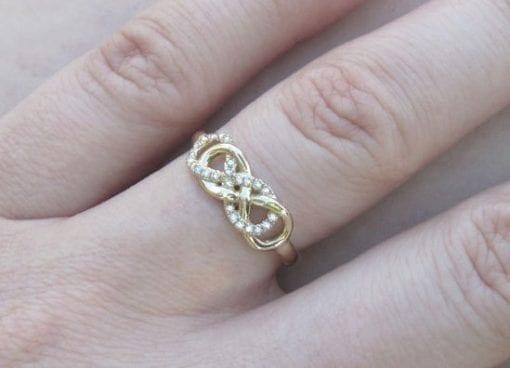 Double Infinity Knot Diamond Ring, Infinity Love Knot