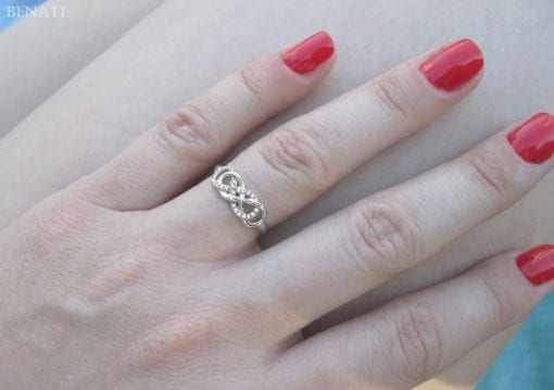 Double Knot Diamond Engagement Ring, Diamond Knot Infinity Ring