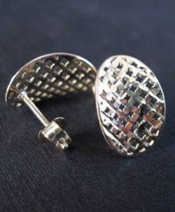 Elegant silver oval stud earrings