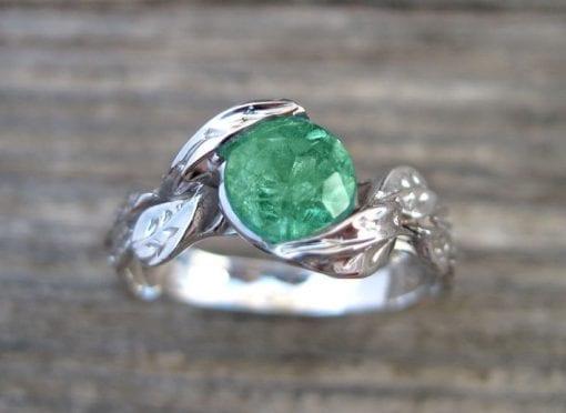 Emerald Engagement Ring, Emerald Leaf Ring