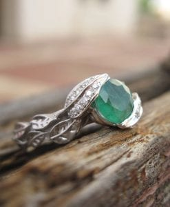 Emerald Engagement Ring, Platinum Emerald Leaves Ring