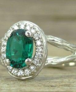Emerald Halo Twig Engagement Ring, Emerald Wood Engagement Ring