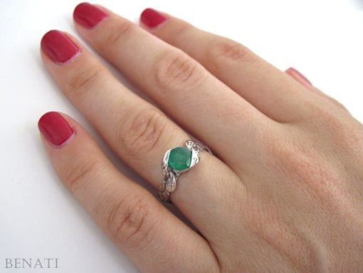 Emerald Leaf Ring, Emerald Engagement Ring