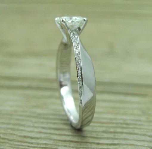 Forever One Moissanite Engagement Ring, Platinum Braided Engagement Ring