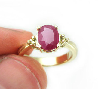 Gold Antique Ruby Engagement Ring, Yellow Gold Oval Ruby Engagement Ring