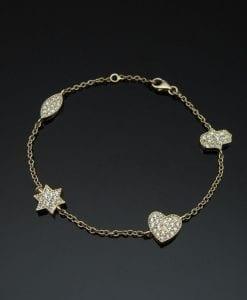 Gold bracelet with Hamsa, Magen David