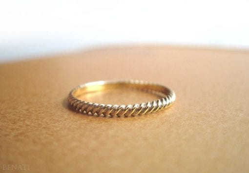 Gold braided rope ring, gold rope wedding band