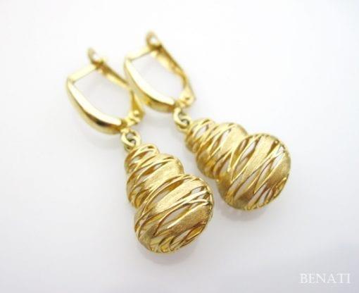 Gold Dangle Designer Earrings - 14k Gold Dangle Earrings - Contemporary Gold Earrings - Gold Earrings - Modern Filigree - Wedding Earrings