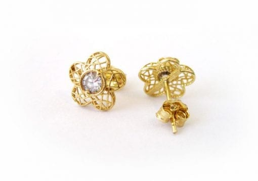 Gold Flower Stud Earrings With Gems, Flower Studs In Gold