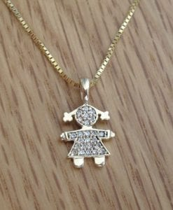 Gold girl baby pendant, Child pendant 14k solid yellow gold with cubic zircon