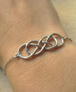 Gold Infinity bracelet, Double infinity bracelet