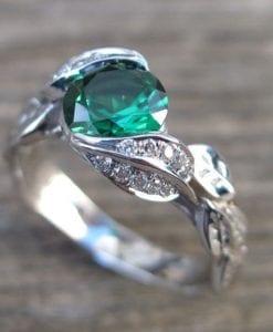 Gold Leaf Ring, Emerald Leaf Engagement Ring