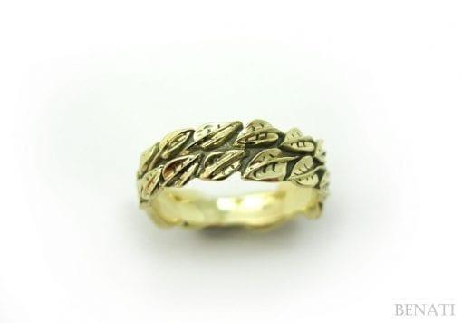 Gold Leaf Ring, Leaf Wedding Band