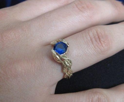 Gold Leaf Ring, Sapphire Leaf Ring