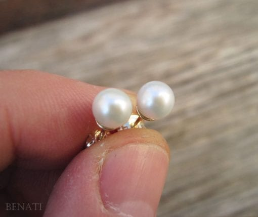 Gold Stud Pearl Earrings, Gold Pearl Earrings