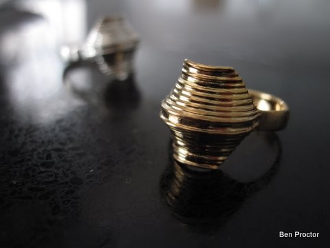 Gold wave ring - Contemporary gold ring - Modern gold ring - Architecture ring -  Highway ring - Free shipping - New designer gold ring