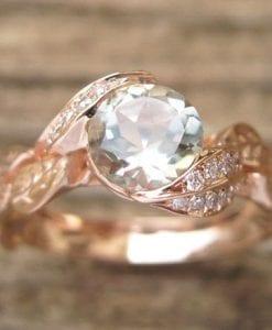Green Amethyst Engagement Ring, Leaf Engagement Ring