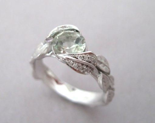 Green Amethyst Leaf Ring, Engagement Leaf Ring