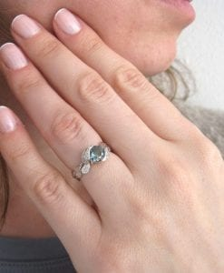 Green Sapphire Leaf Ring, Leaves Engagement Ring