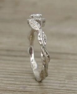 Halo Leaves Engagement Ring, Leaf Diamond Engagement Ring